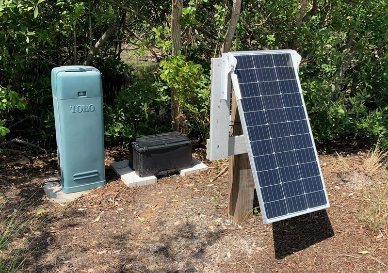 Solar irrigation satellite golf