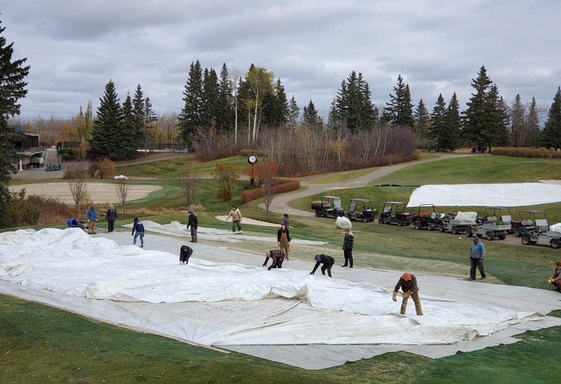 Golf green cover winter